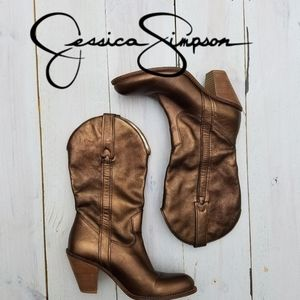 Jessica Simpson bronze cow girl boots